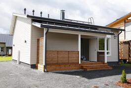 Esimerkkikuva julkisivu etupihalta vastaavasta talosta (ei ole myytävästä kiinteistöstä)