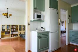 Keittiöstä näkymä olohuoneeseen ja eteiskäytävään