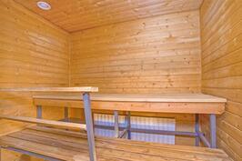 Hyväkokoinen sauna.