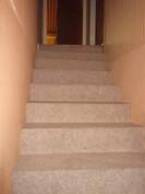 Siisti kokolattiamatoin pinnoitettu portaikko tulee toimivaan täyskorkeaan kellarikerrokseen, jossa ...
