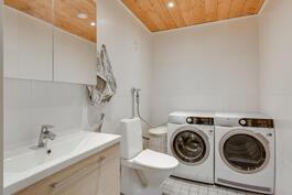Alakerran wc:ssä myös tilaa kodinhoitotilalle
