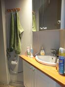 Wc:ssä on allas- ja peilikaapistot