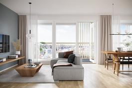 Visualisointikuva 73 neliöisestä asunnosta