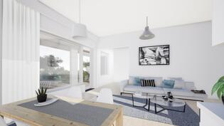 Arkkitehdin mallinnos olohuoneeta makuuhuoneeseen