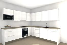 Suuntaa antava kalustekuva tulevasta keittiöstäsi