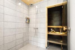 Pesuhuone, sauna taustalla