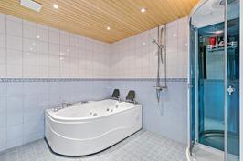 Kylpyhuoneessa on poreamme ja suihkukaappi