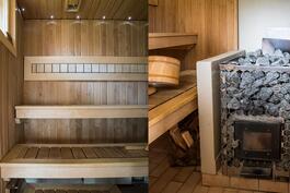 Saunan  seinät paneloitu, lattia laatoitettu, lauteet ja puukiuas uusittu 2010, lattialämmitys