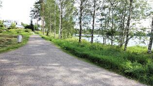 Läheistä puistotietä Palokkajärven rannassa.