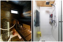 Sauna/pesuhuone alakerrassa