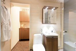 kylpyhuone sekä taakse jäävä kodinhoitotila