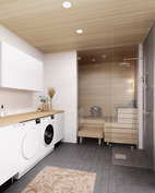 Visualisointikuvassa taiteilijan näkemys A36 kylpyhuoneesta