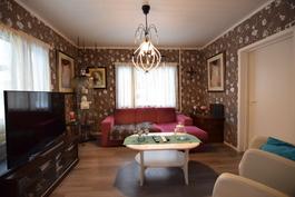Olohuone, jonka perällä tilava varastohuone.