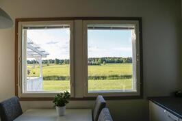 keittiön ikkunasta voi ihailla rauhallista maalaismaisemaa