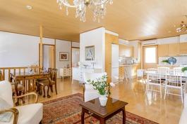 olohuone ja keittiönäkymää