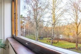 Keittiön ikkunasta on kaunis näkymä lammelle.