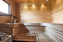 sauna, jossa puilla lämpiävä kiuas
