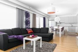 Olohuone ja keittiö muodostavat ison n.40m2 kokonaisuuden