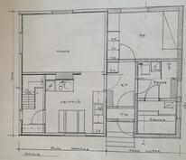 Pohjakuva alakerta (Yläkerrassa kaksi huonetta)