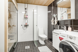 Tilava kylpyhuone moduulisaunalla / Rymligt badrum med elementbastu
