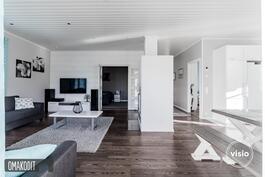 Olohuone ja keittiö muodostavat avaran yhteisen tilan, jossa takka toimii tilanjakajana