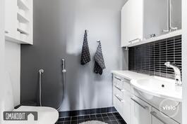 Sama yhdenmukainen ilme jatkuu kodinhoitohuoneen yhteydessä olevassa wc:ssä.