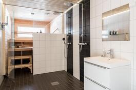 Tilavassa kylpyhuoneessa kaksi suihkua