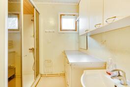 Pesuhuoneessa kiva moduulisauna