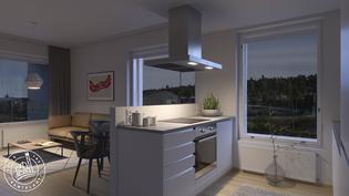 Visualisointikuvassa taiteilijan näkemys asunnosta C 97