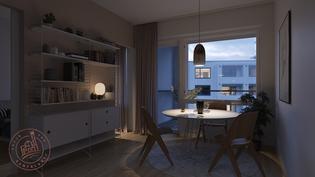 Visualisointikuvassa taiteilijan näkemys asunnosta E 156