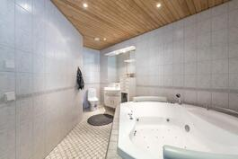 Makuuhuoneessa oma kylpyhuone ja kulku terassille