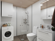 Visualisointikuva 64m2:n asunnon kylppäristä USVA-sisustusteemalla