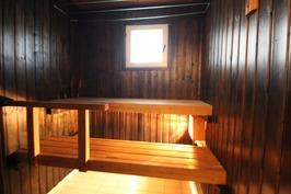 Saunan lauteet ja paneliseinät käsitelty