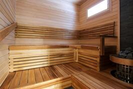 Uutuuttaan tuoksuva sauna