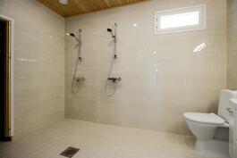 Upea kylpyhuone, kahdella suihkulla