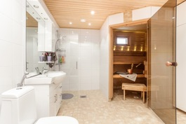 Alakerrassa sauna, pesuhuone, khh