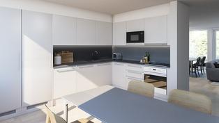 Havainnekuva asunnon B7 keittiöstä.