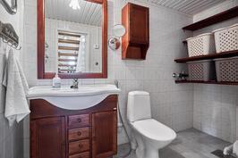 Keskikerroksen wc:ssä on pesukoneliitännät
