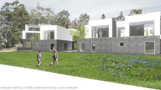 Näkymä rantaraitilta, vasemmalta alkaen G-, H ja I-talo