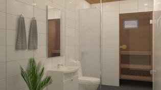 Havainnekuva kylpyhuoneesta