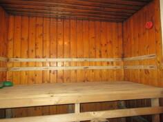 ... asennettu pintaan, kuvassa erillispesutilojen iso sauna, jossa sähkökiuas ja ...