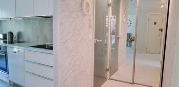Kylpyhuoneen ovi ja peiliovikaappi