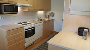 Erittäin siistikuntoinen keittiö, jossa laadukkaat koivuiset kaapistot.