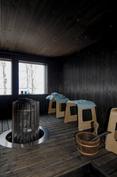 Sauna - Helo Rocher 10,5 kW kiuas lämpenee nop. ja hyvät löylyt (kiinteät lauteet huom. rakenteissa)