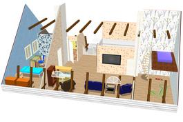 Hahmotelma yläkerran lisärakentamiseksi. Katso 3D-esitys: www.omakotitalotampere.com