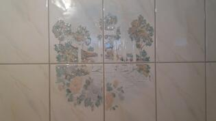 Kylpyhuoneen koristekaakelia