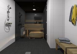 Havainnollinen kuva: Kylpyhuone ja sauna