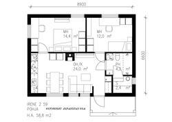 Makuuhuoneiden ikkunoiden sijainti riippuu naapuritaloista ja näkymistä määräosakohtaisesti.