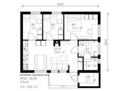 59-neliöisen talon voi valita myös ulkovarastolla varustettuna.