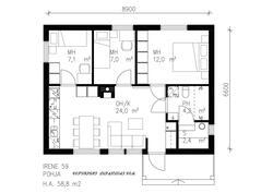 59 neliömetrin taloissa ei ole yhtään hukkaneliötä. Talot vastaavat hyötytiloiltaan paljon isompia.